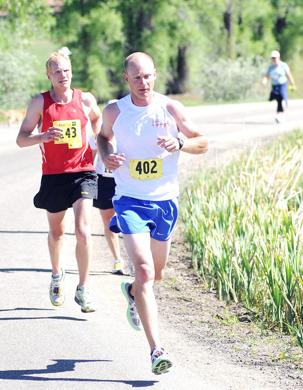 Todd Trapp tries to put a gap on Dan Edstrom during Sunday's Steamboat Marathon. Edstrom didn't go away, however, and later passed Trapp, going on to win the race. Trapp was second.
