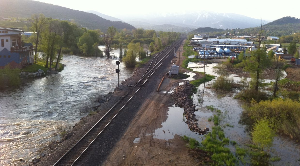 The Yampa River from the James Brown Soul Center of the Universe bridge in west Steamboat on Monday.