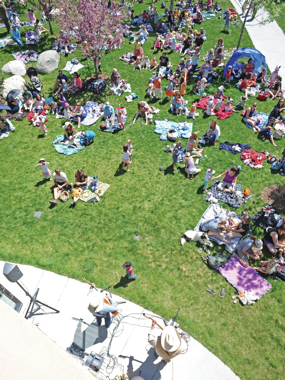 The lawn at Bud Werner Memorial Library was packed Thursday afternoon for the Teddy Bear Picnic.