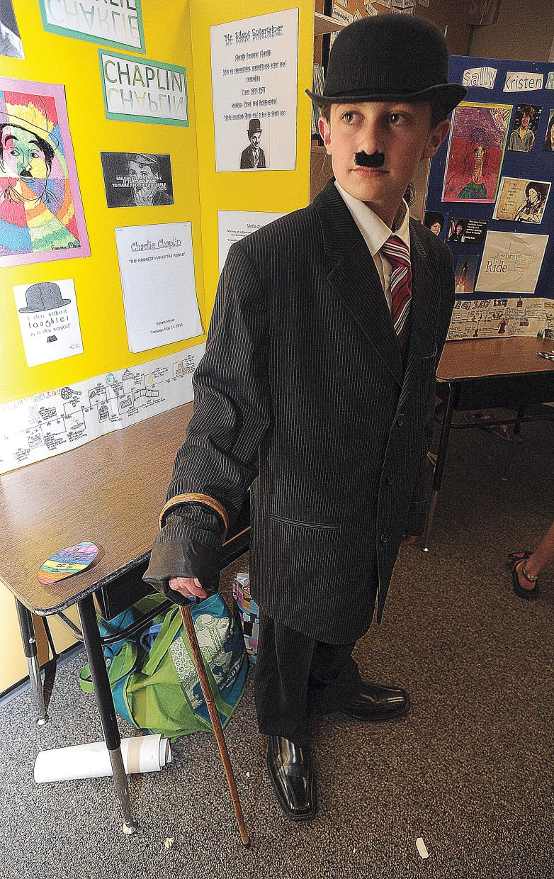 Strawberry Park Elementary School fifth-grader Emma Meyer plays the role of Charlie Chaplin on Thursday during a run-through for a living wax museum. The students will perform from 9:30 a.m. to 11 a.m. Friday at the school.