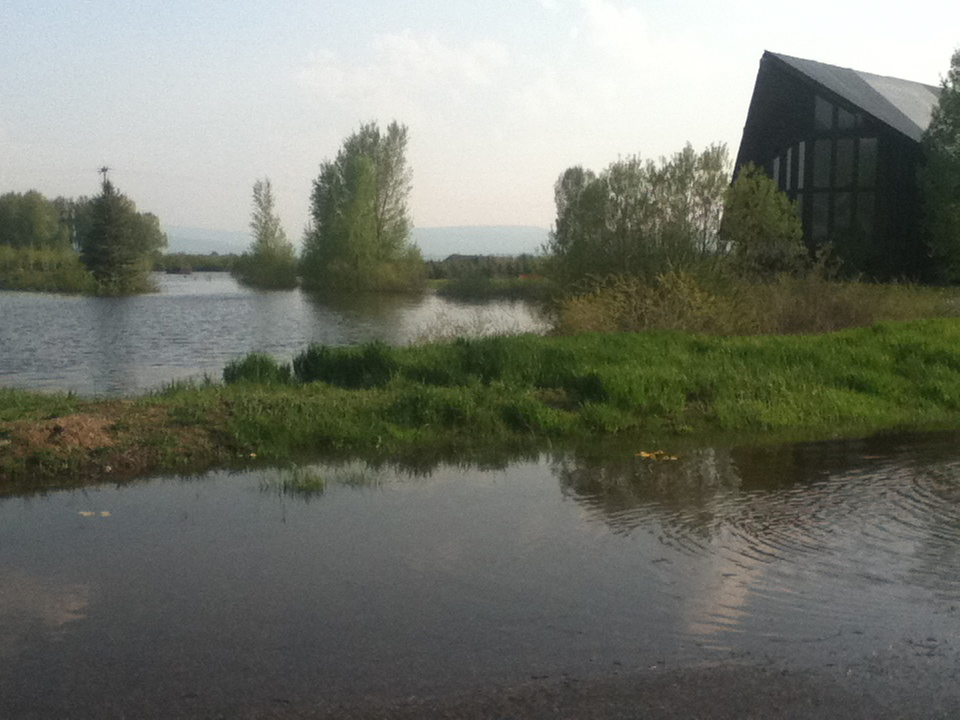 Floodwaters surround Steamboat Springs Christian Center on the southeast side of Steamboat early Tuesday.