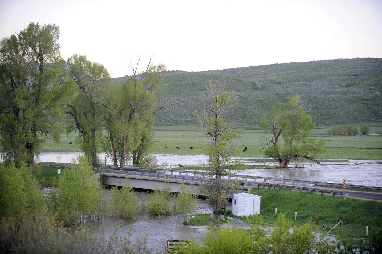 The Elk River measuring site at the Routt County Road 42 bridge was measuring record flows Tuesday morning of 7,520 cubic feet per second.
