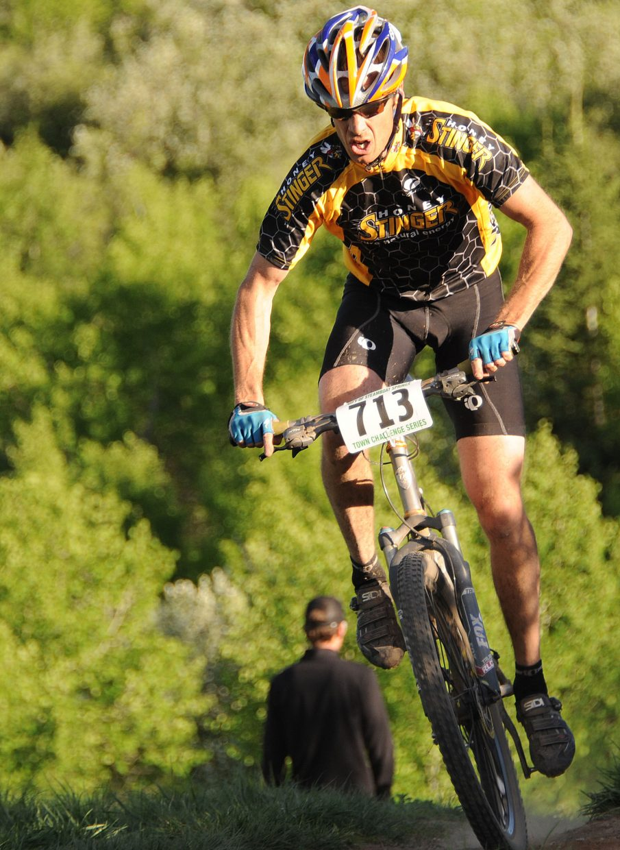 Billy Vanness rides Wednesday in the Town Challenge Mountain Bike Race in Steamboat Springs.