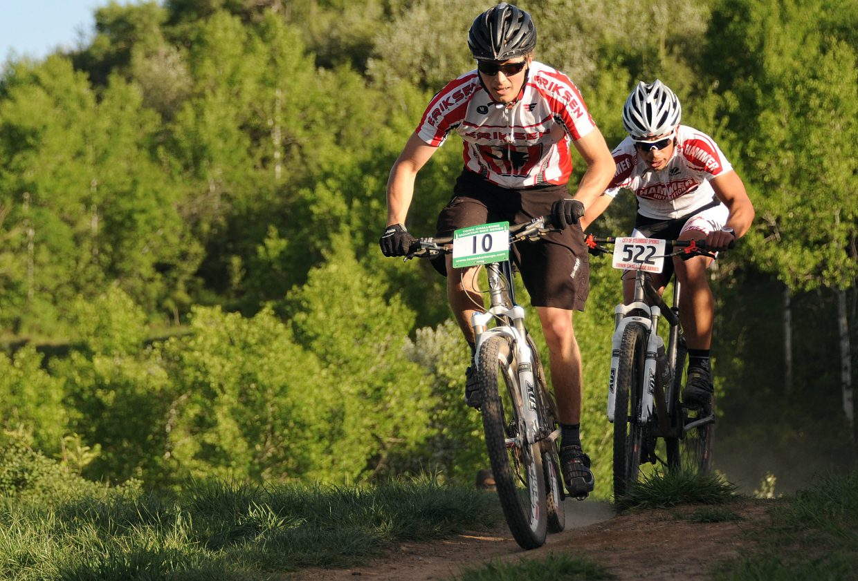 Bo Randolph leads the way on Wednesday in the Town Challenge Mountain Bike Race in Steamboat Springs.
