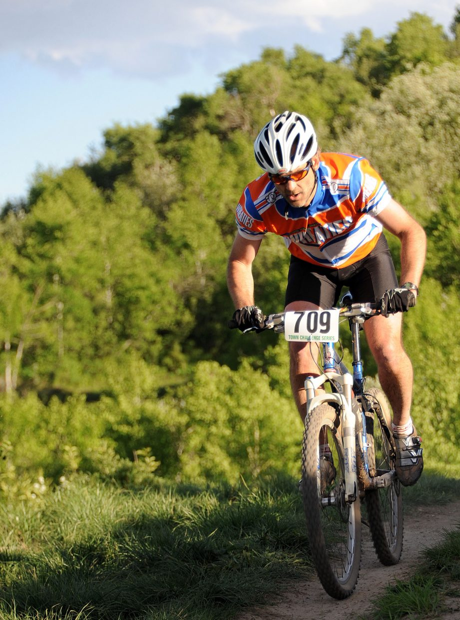 Scott Myller rides Wednesday in a Town Challenge Mountain Bike race in Steamboat Springs.