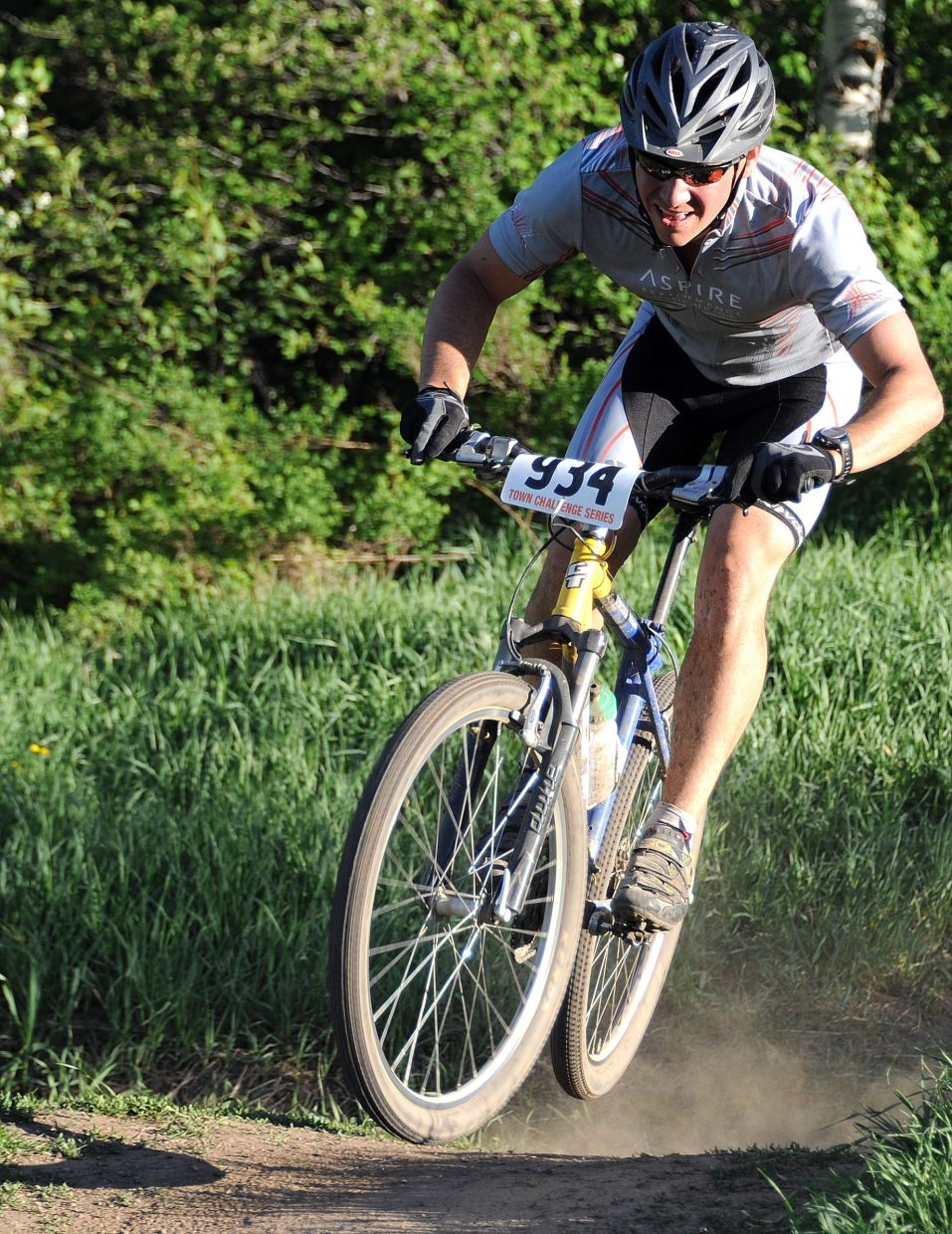 Eric Rabesa rides Wednesday in a Town Challenge Mountain Bike race in Steamboat Springs.