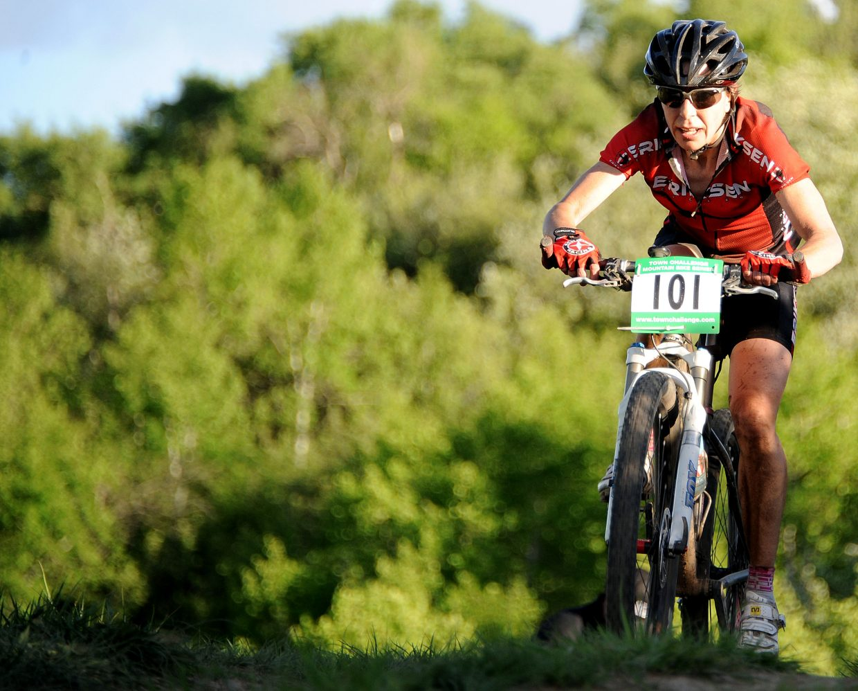 Tammy Jacques rides on Wednesday in the Town Challenge Mountain Bike Race in Steamboat Springs.