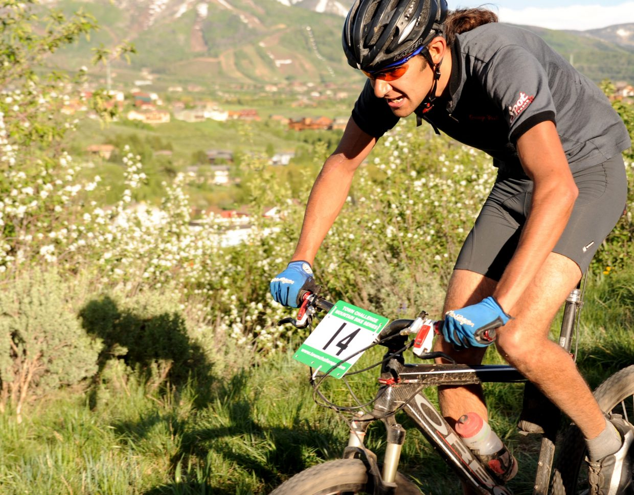 Essam Welch rides on Wednesday in the Town Challenge Mountain Bike Race in Steamboat Springs.