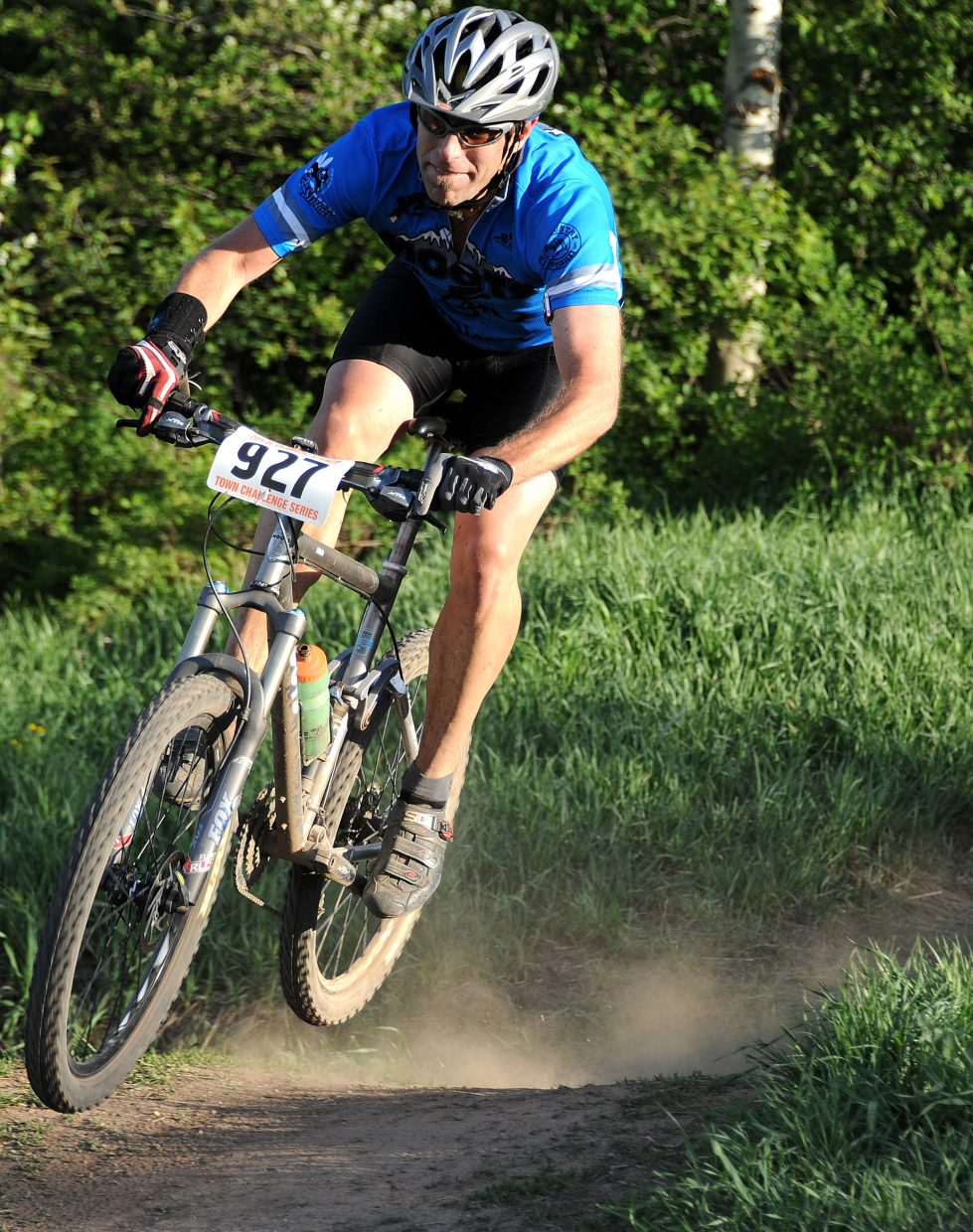 Tim Aigner rides Wednesday in the Town Challenge Mountain Bike Race in Steamboat Springs.