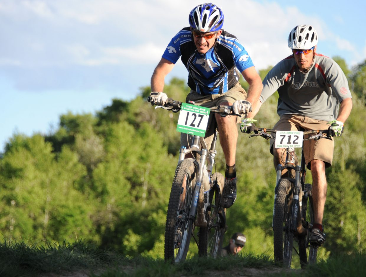 PJ Wharton leads the way Wednesday in the Town Challenge Mountain Bike Race in Steamboat Springs.