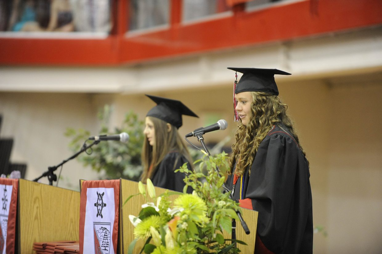 Suzanne Lyon addresses her class during graduation Saturday.
