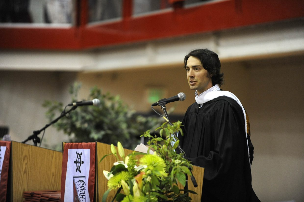 Steamboat Springs Olympian Johnny Spillane addresses the Class of 2013 on Saturday at Steamboat Springs High School.