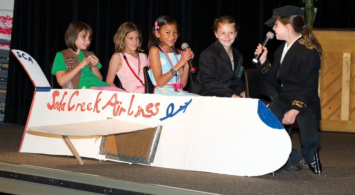 Soda Creek Elementary School students, from right, Lauren Ehrlich, Shilo Lottes, Katy Floyd, Riley Hodges and Annie Harbison perform a skit on the final day of school Thursday during the End of the Year Talent Show.