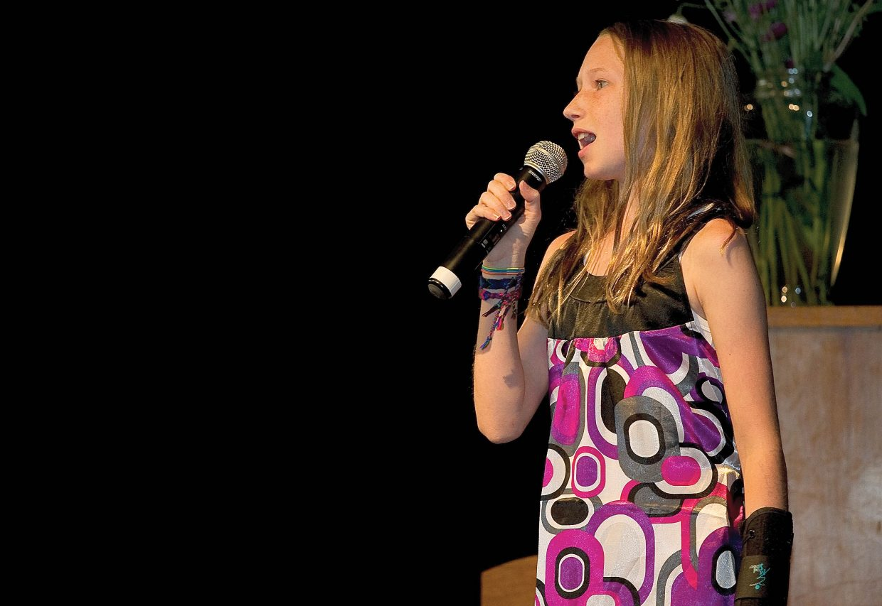 Soda Creek Elementary School fifth-grader Jackie Brown performs on the final day of school thursady during the End of the Year Talent Show.