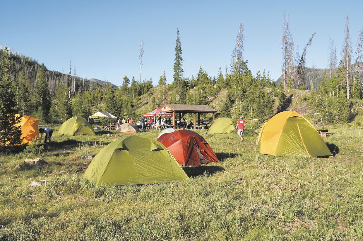 The latest tents from Steamboat Springs-based Big Agnes dotted a meadow in the Seedhouse Campground on Thursday night in the Routt National Forest. The occasion was a party to entertain a lead buyer as well as inventory control specialists from REI. Big Agnes recently has acquired a new warehouse and office space in Steamboat and announced new hires to help it meet growing sales.