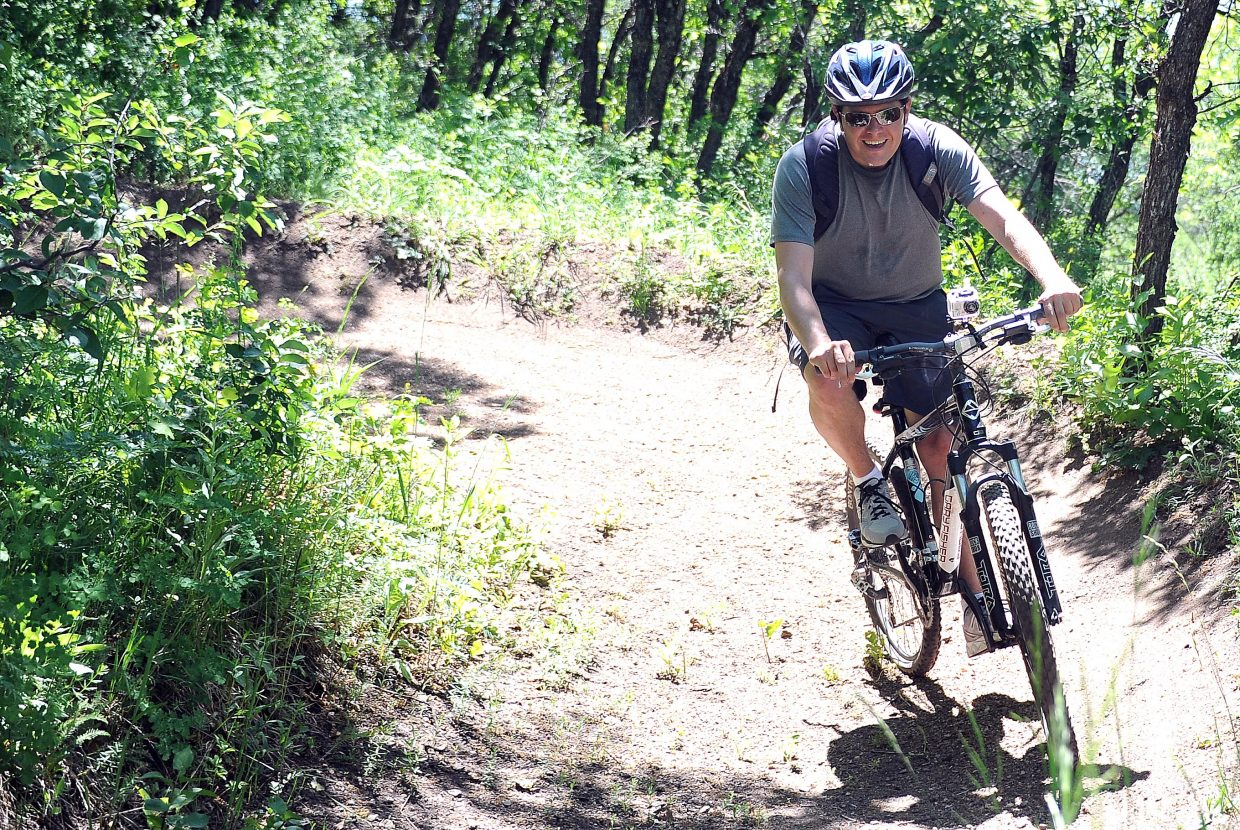 A long string of banked turns on the second half of the trail make for some swift downhill fun, even for the nervous.