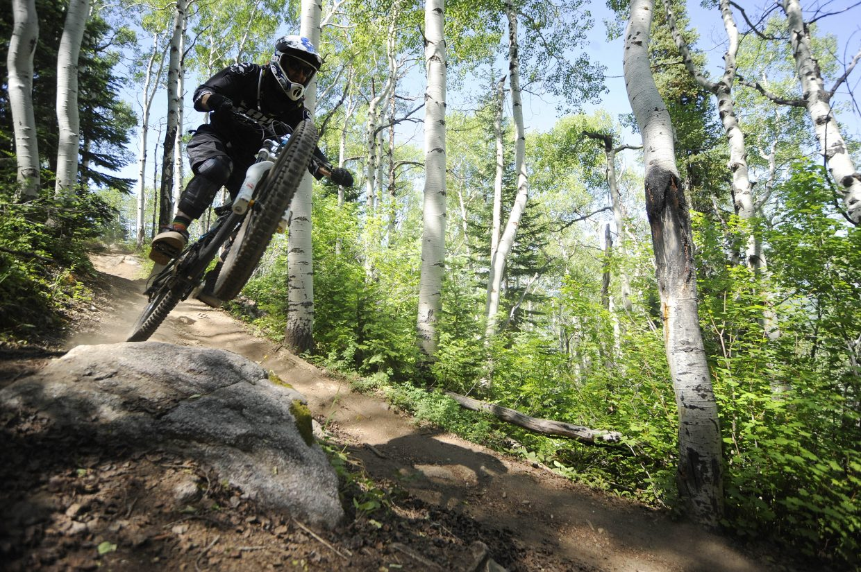 Lance Canfield comes down the Valley View trail Saturday at Steamboat Ski Area.