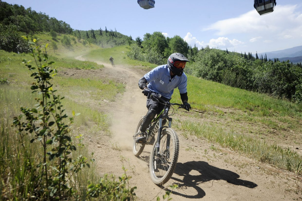 Steamboat Ski Area employee Jon Feiges comes down the lower Rustler Ridge trail Saturday at Steamboat Ski Area.