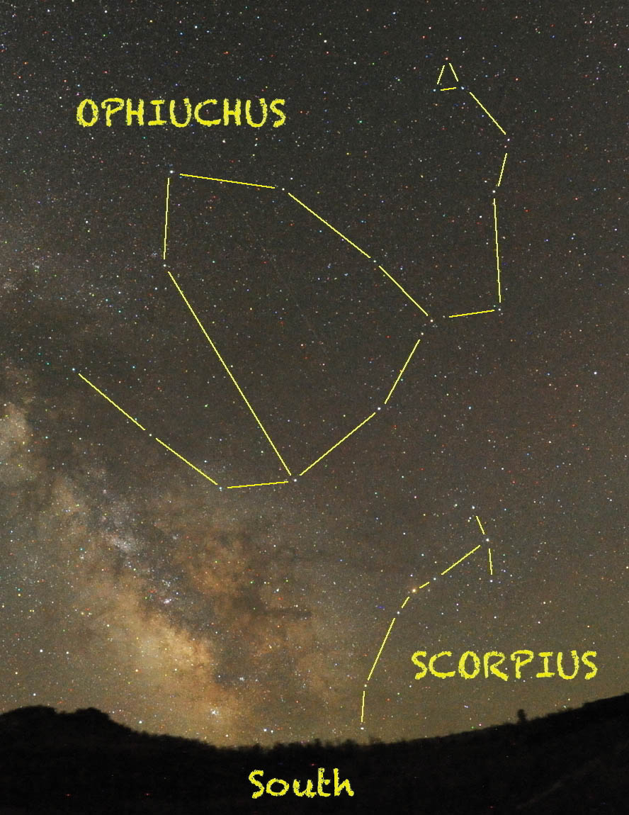 Look for the giant house-shaped outline of Ophiuchus high in the southern sky around midnight in mid-June.