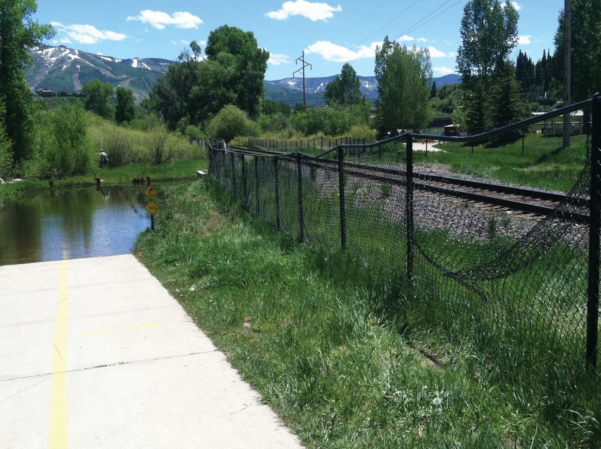 The entrance to Howelsen Tunnel on the Yampa River Core Trail in downtown Steamboat remained flooded on Sunday, June 12.