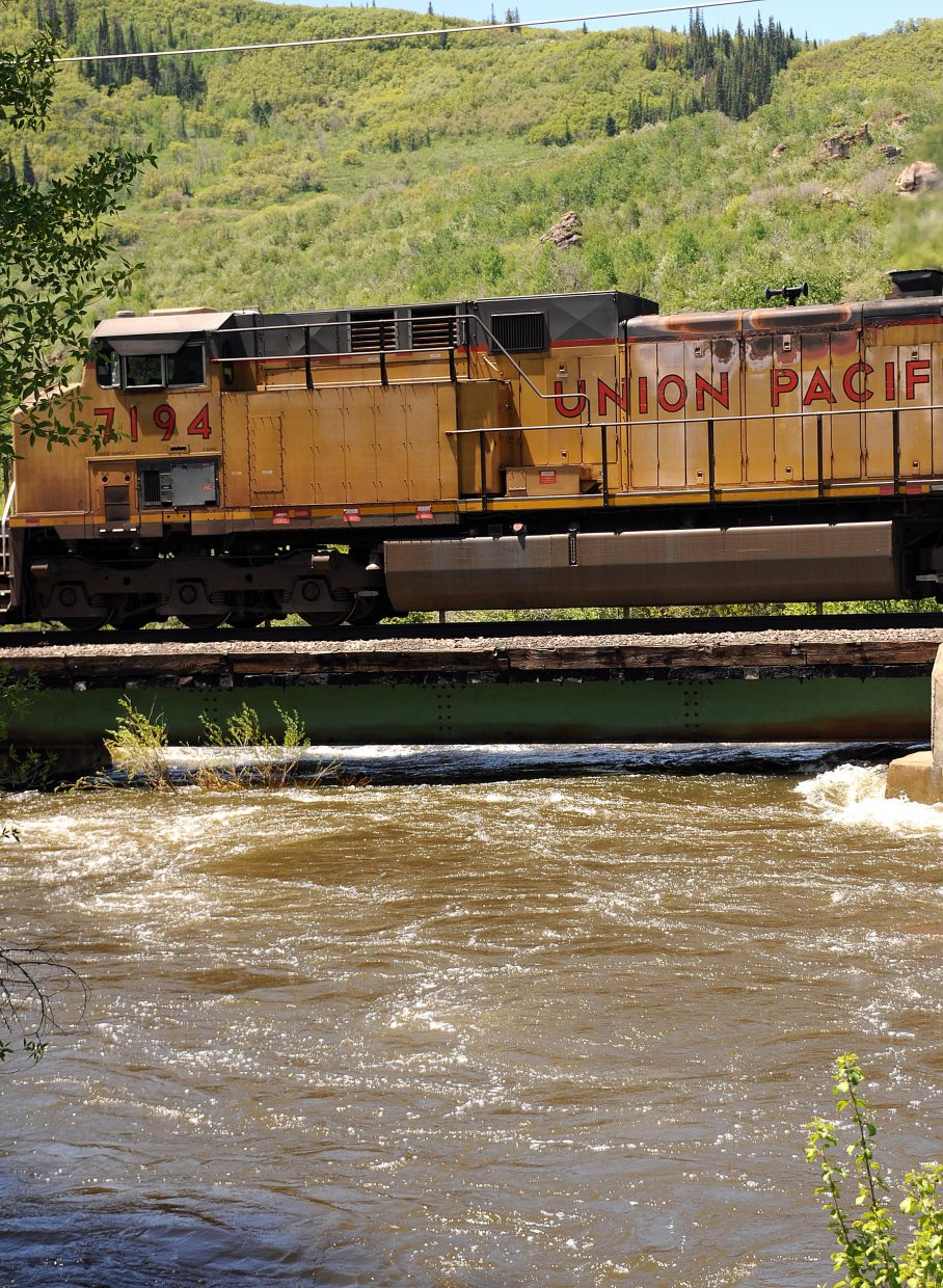 The Yampa River skirts under a railroad bridge on Sunday in Steamboat Springs.