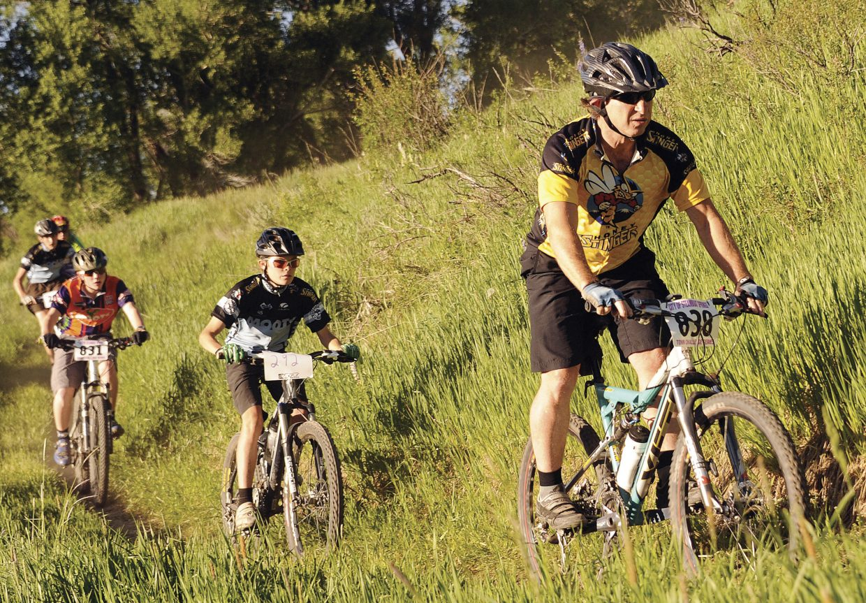 Neil Ganz leads a pack of riders last year during the Town Challenge Mountain Bike Race Series event at Marabou Ranch. This year's race is at 5:30 p.m. today with day-of registration starting at 4:30 p.m.