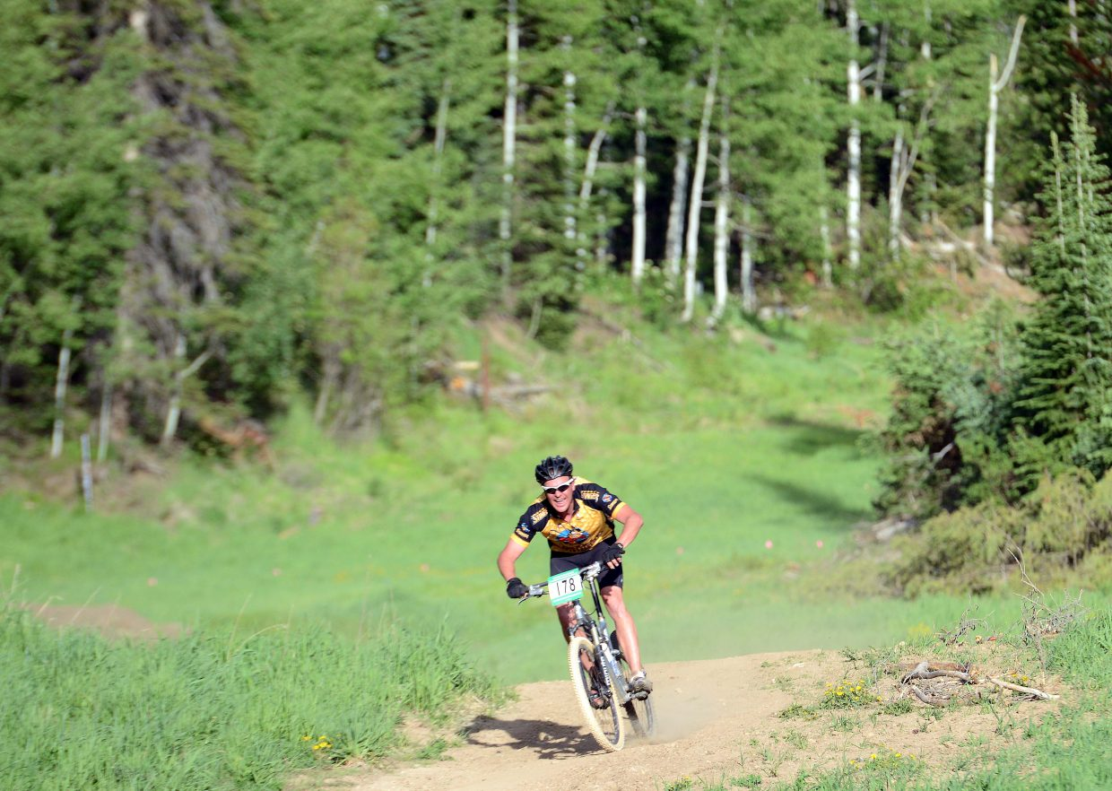 Greg Rawlings rides Wednesday in the Town Challenge Mountain Bike series in Steamboat Springs.