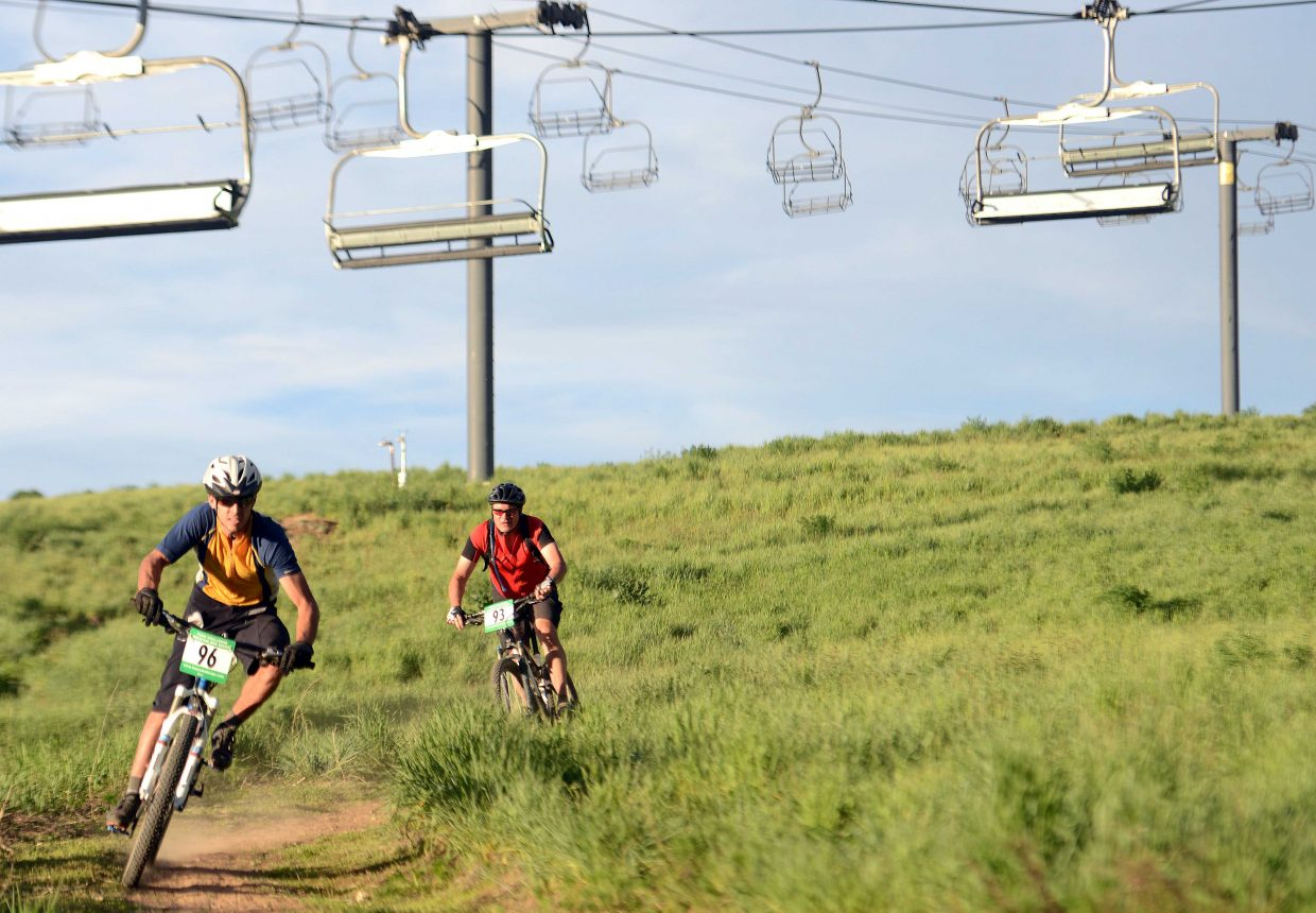 Michael Kozer rides Wednesday in the Town Challenge Mountain Bike series in Steamboat Springs.