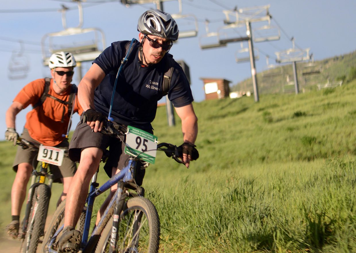 Jascha Bown-Kreiner rides Wednesday in the Town Challenge Mountain Bike series in Steamboat Springs.
