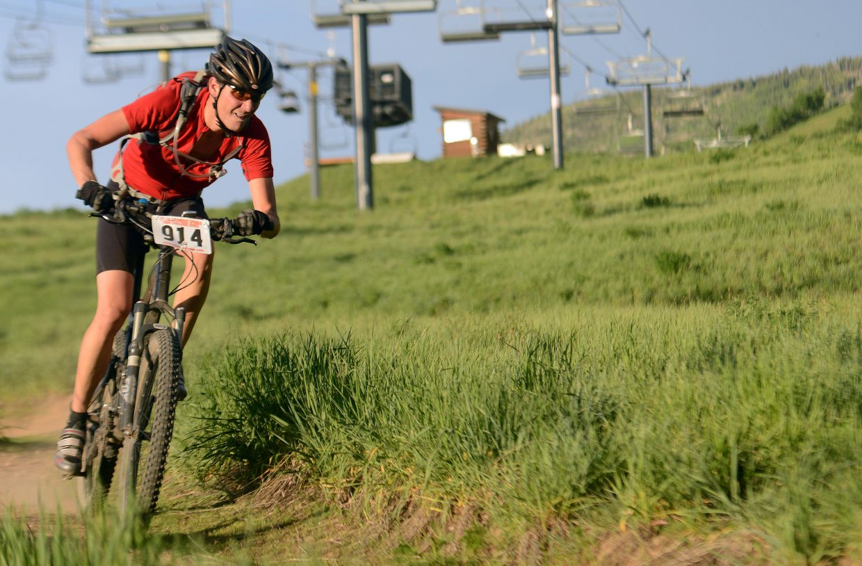 Garett Mariano rides Wednesday in the Town Challenge Mountain Bike series in Steamboat Springs.
