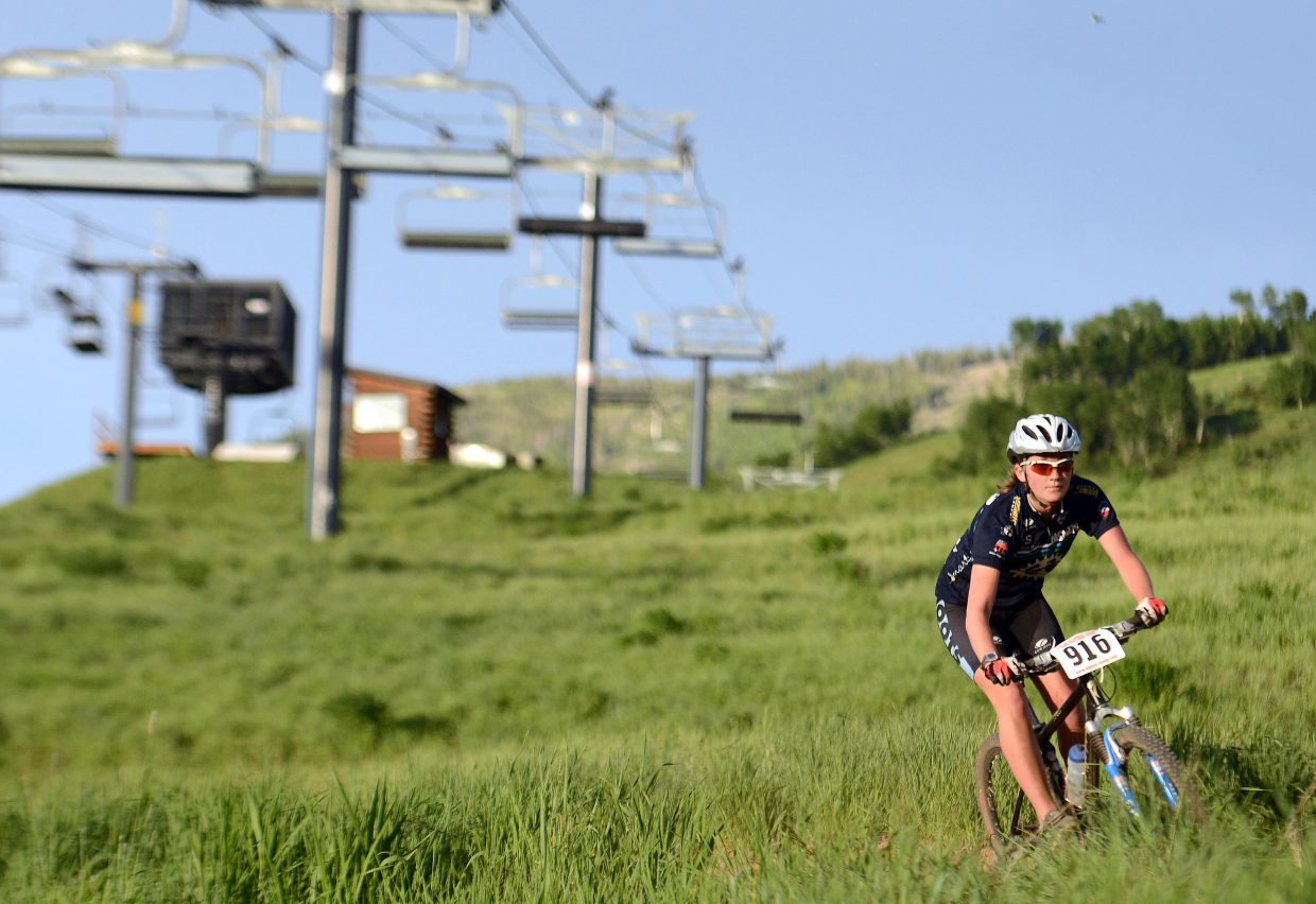 Lesley Myller rides Wednesday in the Town Challenge Mountain Bike series in Steamboat Springs.