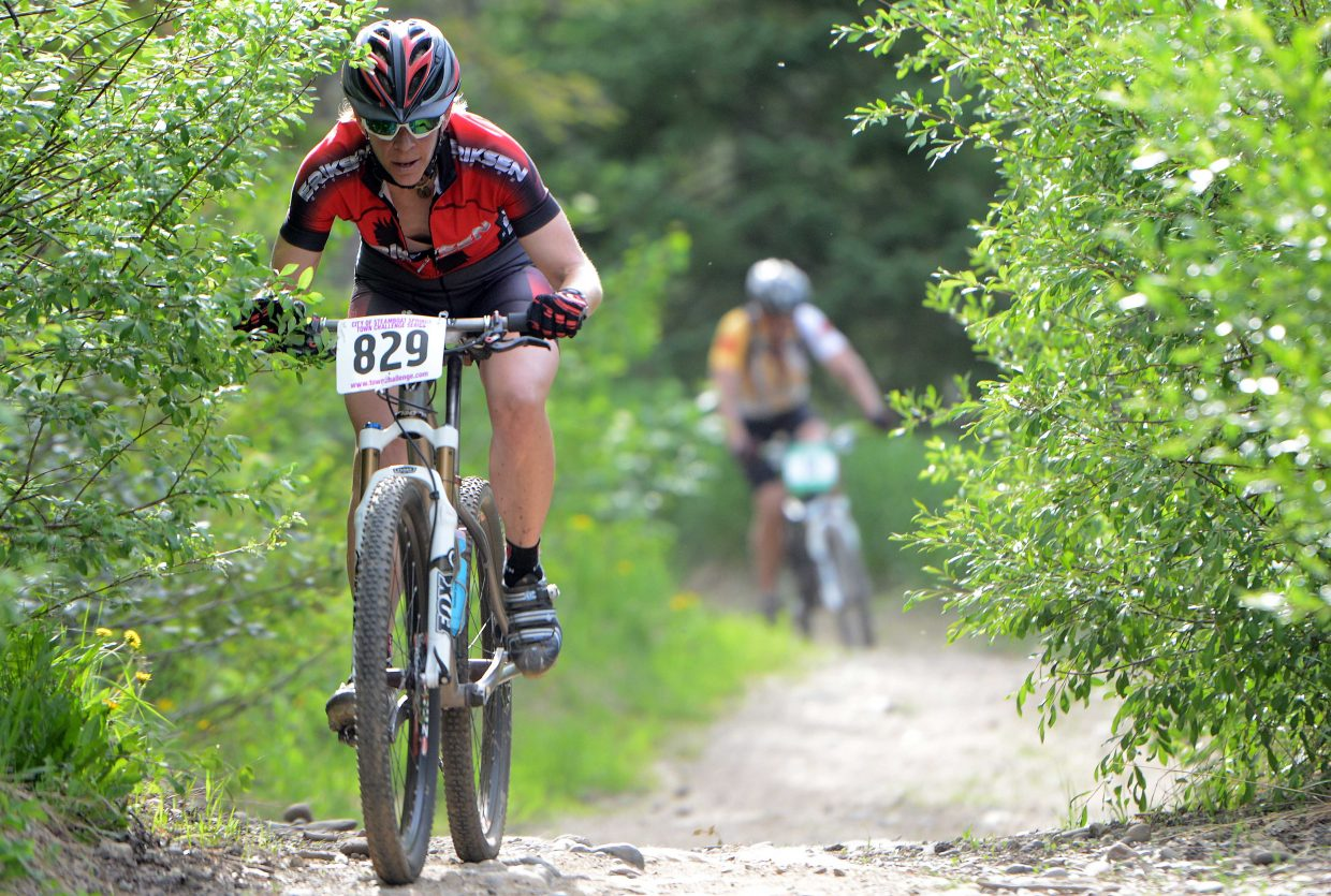 Katie Lindquist rides Wednesday in the Churn and Burn event of the Town Challenge Mountain Bike Race Series in Steamboat Springs.