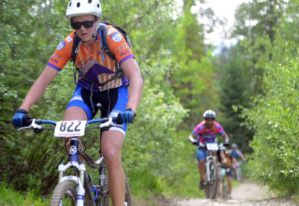 Murphy Roberts rides Wednesday in the Town Challenge Mountain Bike series in Steamboat Springs.