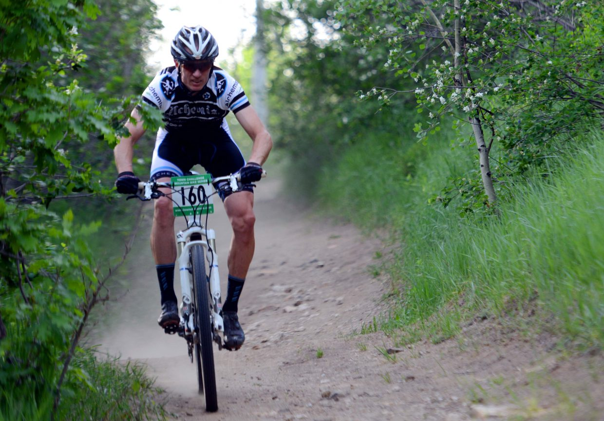 George Watson rides Wednesday in the Town Challenge Mountain Bike series in Steamboat Springs.