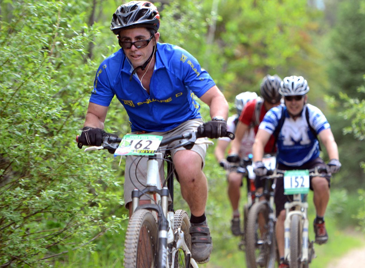 Walter Magill rides Wednesday in the Town Challenge Mountain Bike series in Steamboat Springs.
