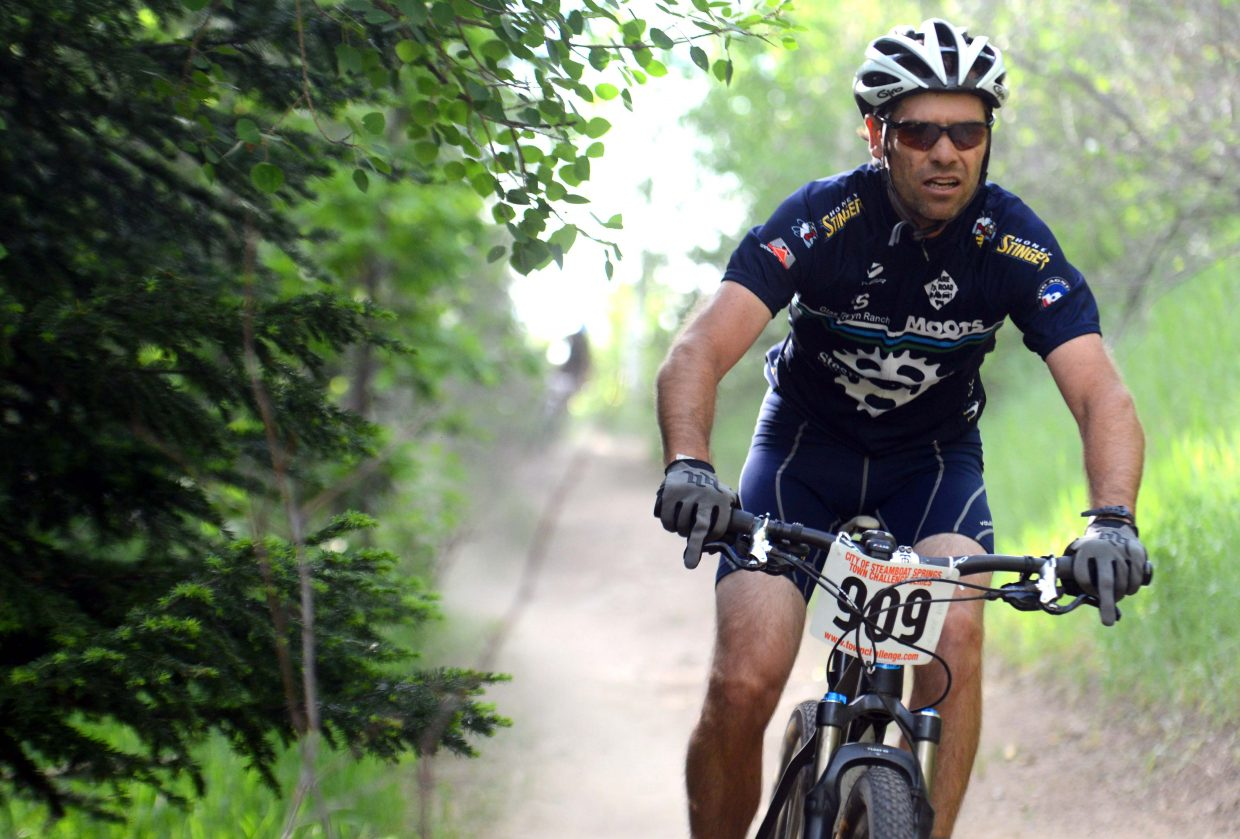 Matt Heydon rides Wednesday in the Town Challenge Mountain Bike series in Steamboat Springs.
