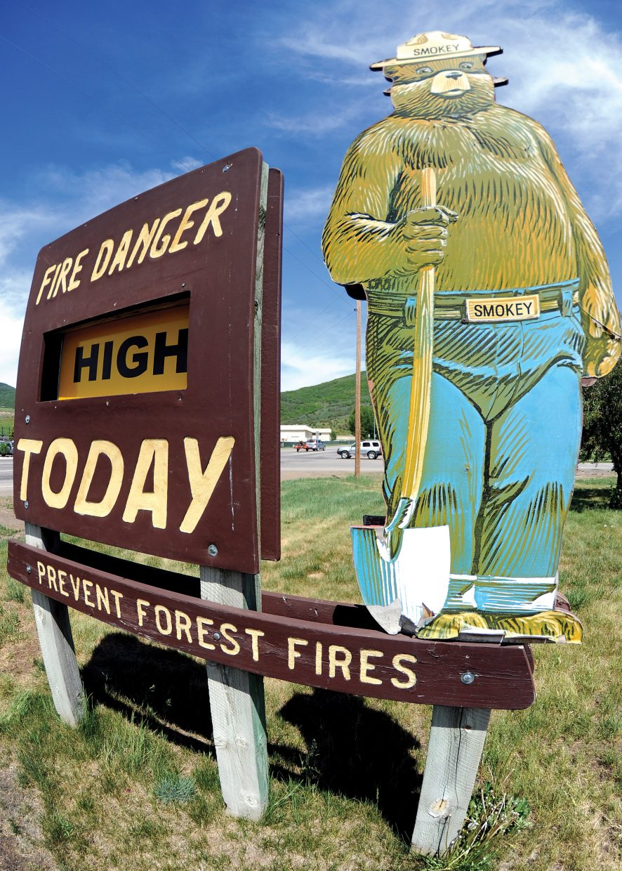 The sign outside the Routt County Sheriff's Office has been changed to reflect recent dry conditions. The Routt County fire danger rating increased from low to high.