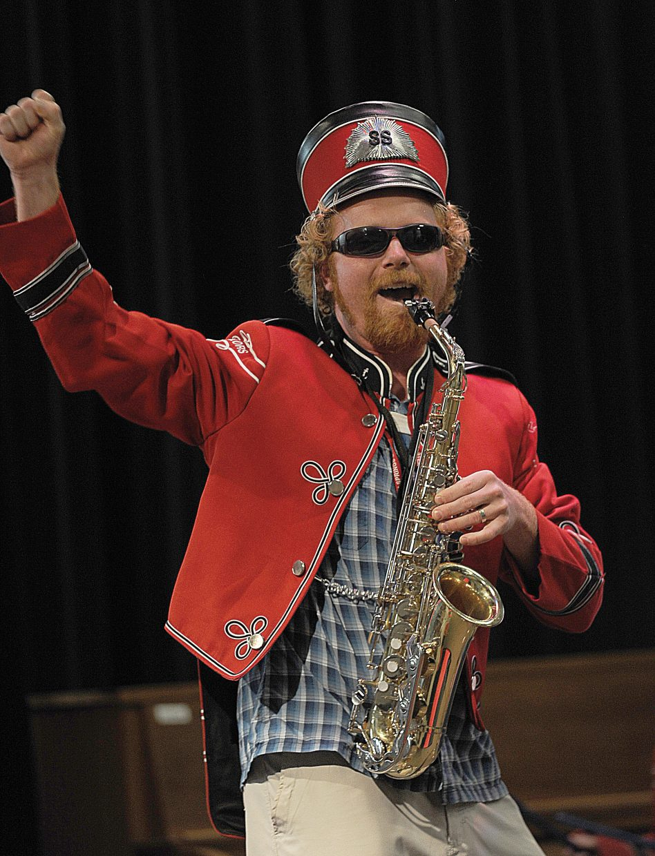"""Soda Creek Elementary School band teacher Jake Gasau plays """"The Hey Song"""" as part of the 2013 talent show on the final day of class."""