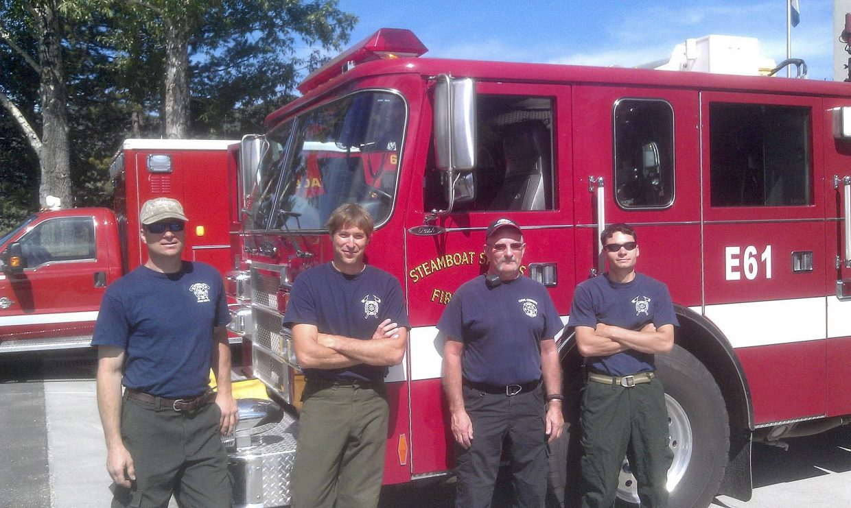 Routt County firefighters Linas Vaitkus, from left, Leighton White, Chuck Wisecup and Tony DeRisio left Wednesday to help fight the Black Forest Fire in the Colorado Springs foothills.