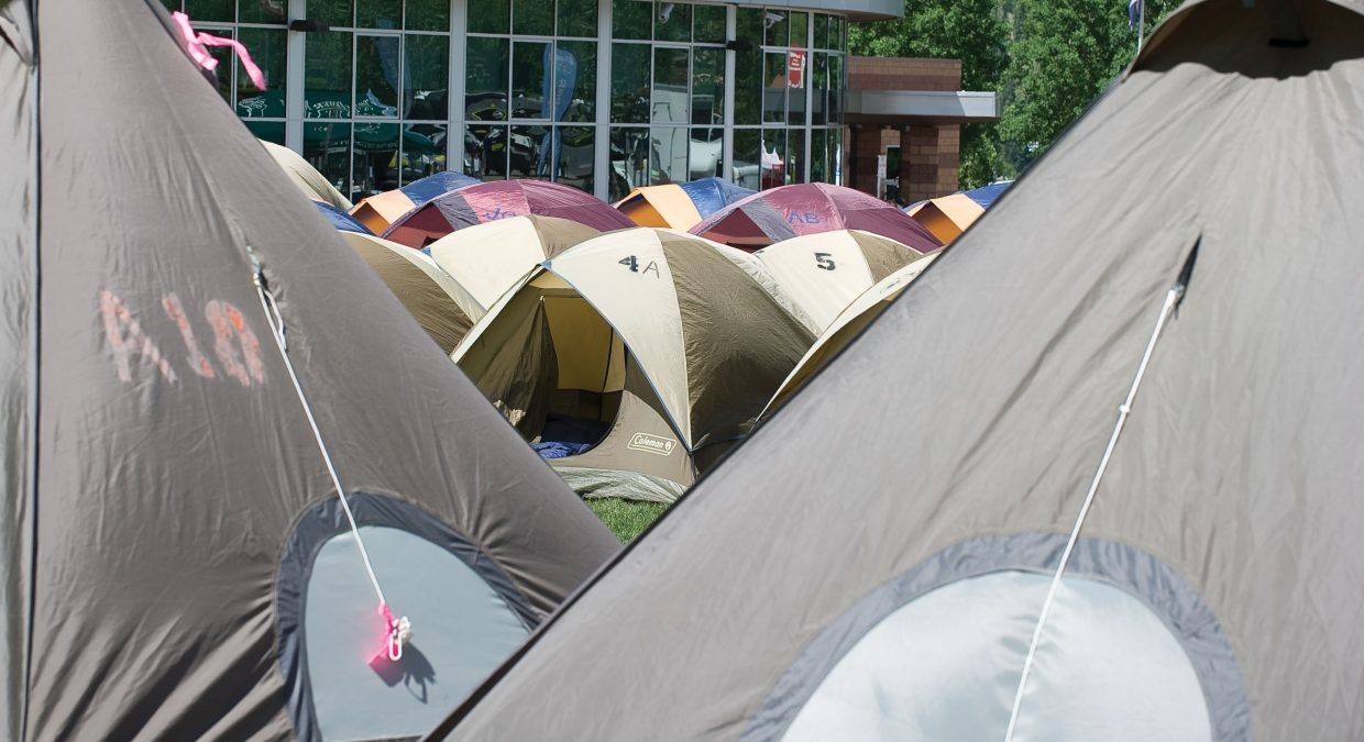 Tents pack a field in front of the Steamboat Springs High School Tuesday morning in preparation for the arrival of more than 2,000 cyclists in this year's Ride the Rockies bicycle tour.
