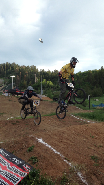 Chip Ellis and Jim Kohler battle for first place during a BMX race Thursday. Submitted by: Cati Ellis.