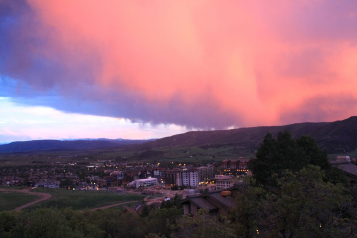 Wednesday night's storm develops to the west of the Steamboat Ski Area.