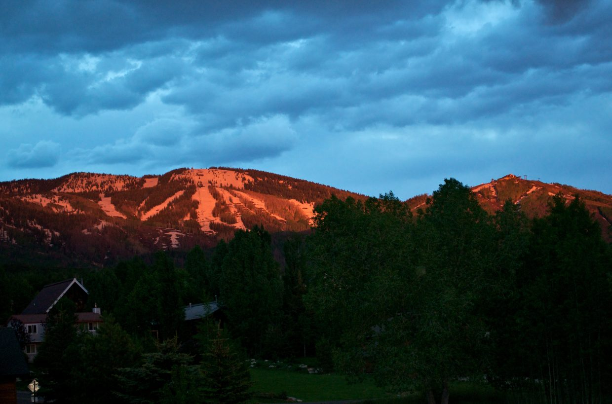 Alpenglow on the slopes of Mount Werner early Wednesday evening.