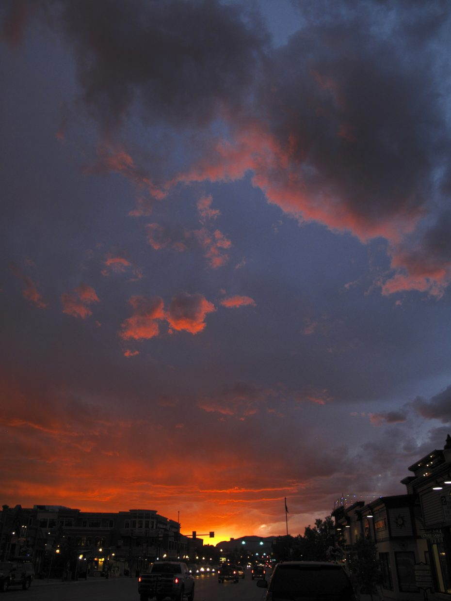 A stunning sunset looking west over Lincoln Avenue in downtown Steamboat on Wednesday.