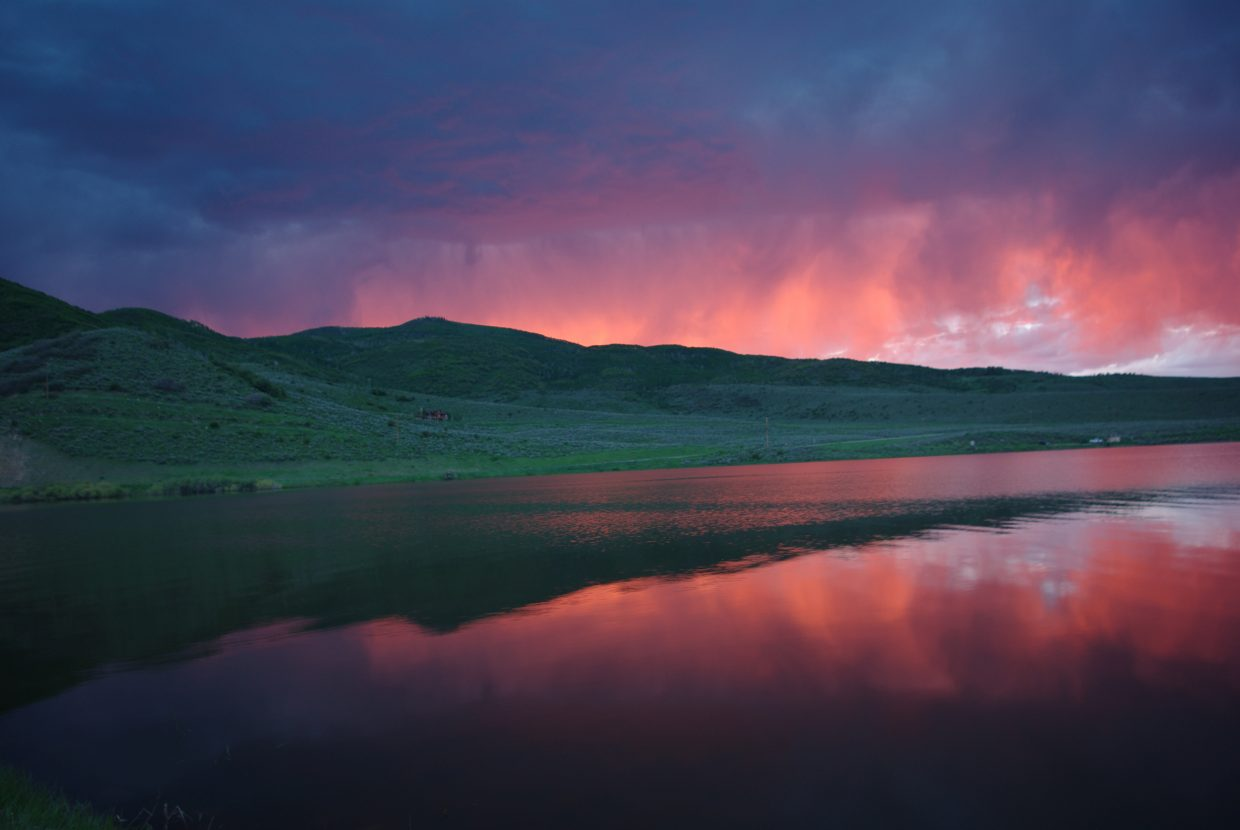 Sunset over Stagecoach Reservoir in advance of Wednesday's powerful storm.