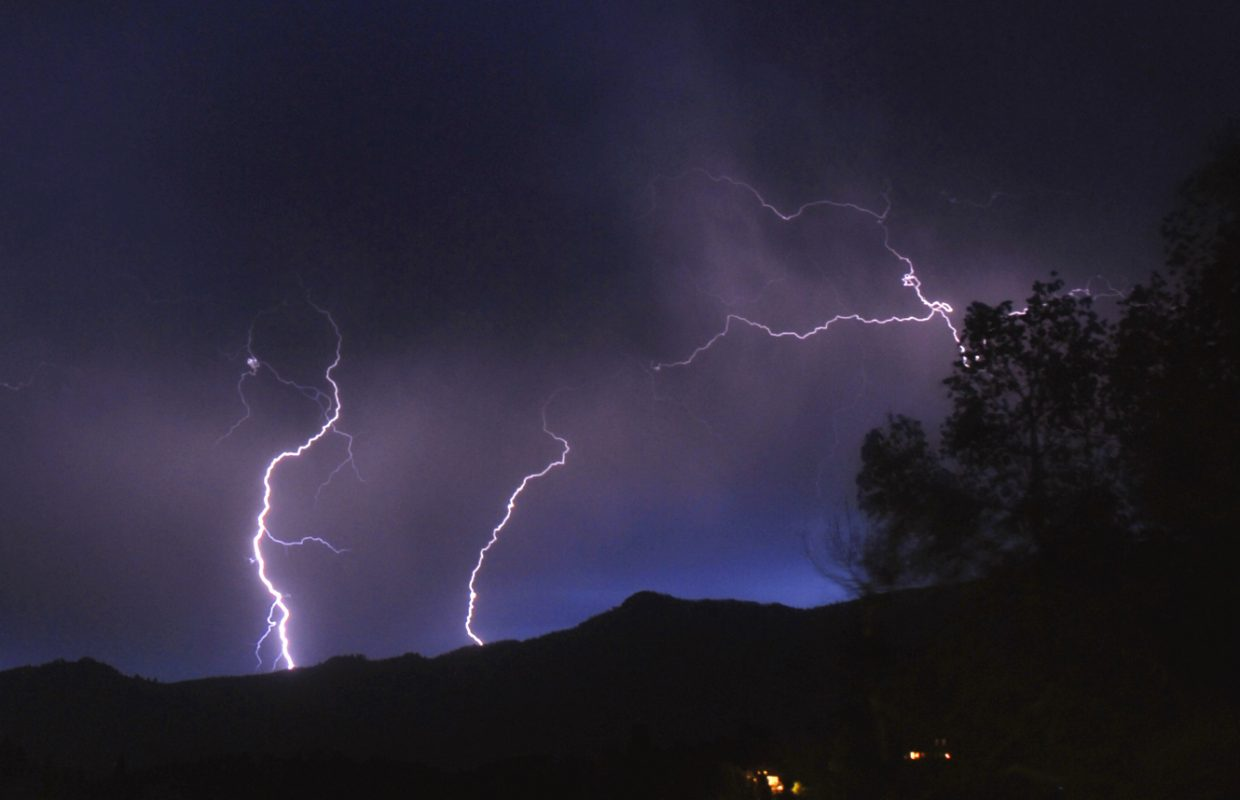 Lightning strikes north of Steamboat on Wednesday evening.