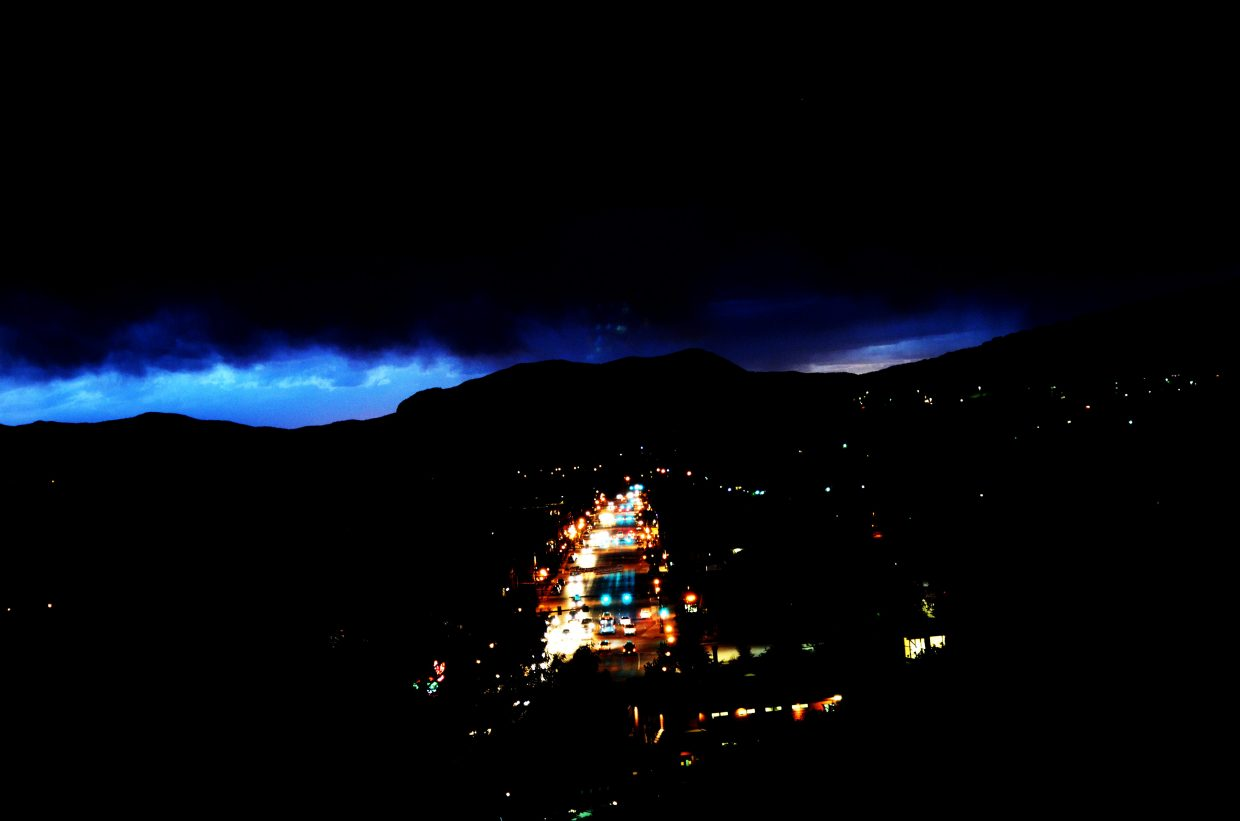 Downtown Steamboat Springs is wet and dark in the aftermath of Wednesday night's powerful storm.
