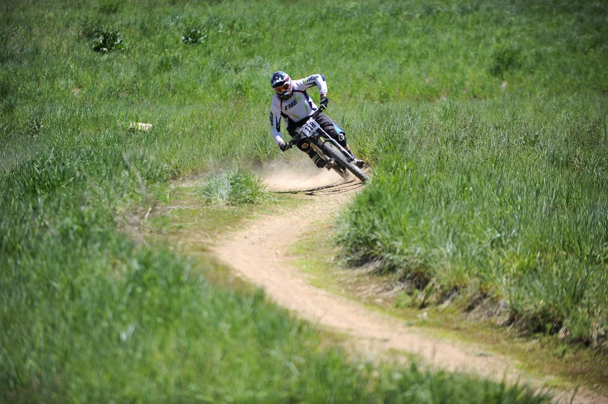 Brian Deem competes in the Enduro-X race Saturday at Steamboat Ski Area.