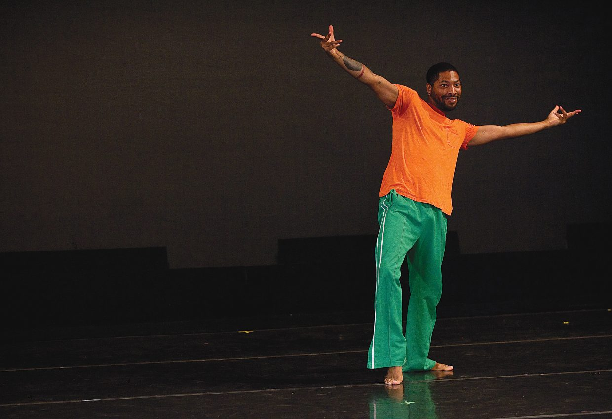 Dancer and choreographer Kyle Abraham rehearse his role for this year's New Works Festival at the Perry-Mansfield Performing Arts School and Camp. Abraham is choreographing three pieces, which are a mix of contemporary and hip-hop dance.