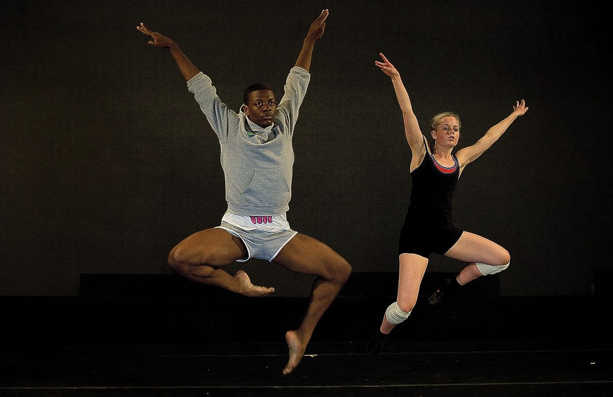 Student dancers Nehemiah Spencer, left, and Ellie Swiatkiwsky rehearse Wednesday for the New Works Festival at the Perry -Mansfield Performing Arts School and Camp. The dancers will display a mix of contemporary and hip-hop in three pieces during a performance at 8 p.m. Friday night at the Main Studio on the Perry-Mansfield campus.